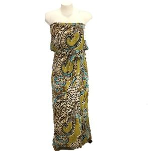 Maxi Dress Tribal Print Brown & Teal NWT Size 18